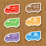 Fast food delivery trucks stickers Royalty Free Stock Photo