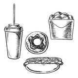Fast food, dessert and drink sketch icons Stock Photo