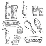 Fast food with dessert and drinks sketch icons. Fast food  sketch icons of hot dogs, soda, chicken leg, milkshakes with cherries, cake, ice cream cone, paper Stock Images