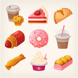 Fast food dessert goods. Set of colorful fast food desserts and sweets. Isolated vector fruit pies, strawberry cakes and diary products with topping Royalty Free Stock Images