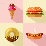 Fast food and dessert icons Stock Photo