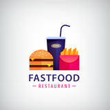 Fast food di vettore, logo variopinto del caffè Hamburger, patate fritte Fotografie Stock Libere da Diritti