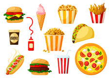 Fast food dishes with drink and dessert icon set Stock Photo