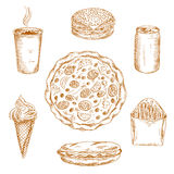 Fast food dishes, drinks and desserts sketch icons Stock Photo