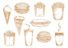 Fast food dishes with drinks and desserts sketch. Takeaway paper cups of hot coffee and sweet soda, pepperoni pizza with mushrooms, hamburger, cheeseburger and Royalty Free Stock Photo