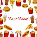 Fast food dishes and takeaway drinks poster. Hamburger, pizza, hot dog, soda and coffee paper cups, cheeseburger, french fries box, ice cream cone and bucket royalty free illustration