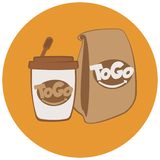 Fast food disposable cup and paper bags. vector illustration