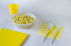 Fast food. Disposable tableware for instant noodles Royalty Free Stock Photography