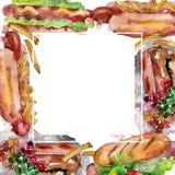 Fast food do cachorro quente isolado Grupo da ilustra??o do fundo da aquarela Quadrado do ornamento da beira do quadro imagens de stock