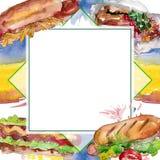 Fast food do cachorro quente isolado Grupo da ilustra??o do fundo da aquarela Quadrado do ornamento da beira do quadro foto de stock