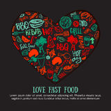 Fast food doodle banner in shape of heart. Hand-drawn set with barbeque accessories, lettering vector illustration on royalty free illustration