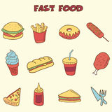 Fast food doodle icons Stock Photo