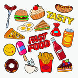 Fast Food Doodle with Pizza, Burger and Fries. Junk Unhealthy Eating Stock Photography