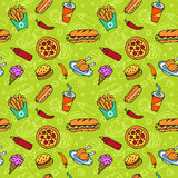 Fast Food Doodle Seamless Pattern Royalty Free Stock Image