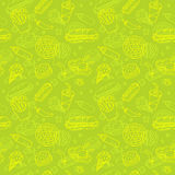 Fast Food Doodle Seamless Pattern Stock Photos
