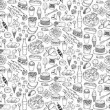 Fast Food Doodle Seamless Pattern Royalty Free Stock Photography