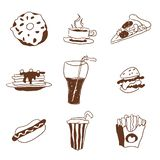 Fast food doodle selection of goodies drawings royalty free illustration