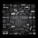 Fast food doodle set Royalty Free Stock Image