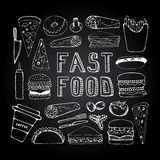 Fast food doodle set Royalty Free Stock Images