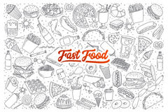 Fast food doodle set with lettering. Hand drawn set of fast food doodles with lettering in vector Royalty Free Stock Photo