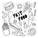 Fast food doodle sketch . Freehand monochrome drawing . Burger chicken leg ice cream donut croissant fries hot dog pizza vector illustration