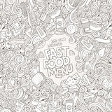Fast food doodles elements frame background Royalty Free Stock Photo