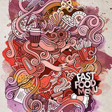 Fast food doodles elements watercolor art Stock Photos