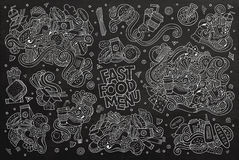 Fast food doodles hand drawn chalk board vector Stock Image