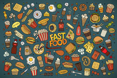 Fast food doodles hand drawn vector symbols Stock Photos