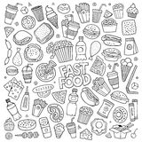Fast food doodles hand drawn vector symbols Royalty Free Stock Photography