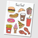 Fast food doodles - lined paper Stock Photography