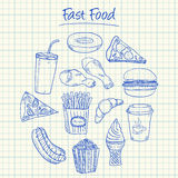 Fast food doodles - squared paper Royalty Free Stock Image