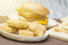 Fast Food Doubble Cheese Burger Stock Photos