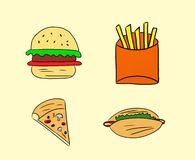 Fast food drawings. Yellow fast food drawings background royalty free illustration