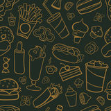 Fast food drawings seamless pattern. Line arts with dark background Royalty Free Stock Image