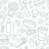 Fast food drawings seamless pattern. Line arts with white background. Fast food drawings seamless pattern. Line arts with dark background EPS10 royalty free illustration
