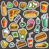 Fast Food Drawings. 26 separated  objects Stock Photos