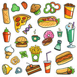 Fast Food Drawings White Background stock photography