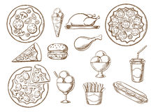 Fast food, drink and desserts sketches Royalty Free Stock Images
