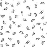 Fast Food And Drink Eating Theme Seamless Pattern stock illustration