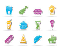 Fast food and drink icons Stock Images