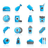 Fast food and drink icons Royalty Free Stock Photo