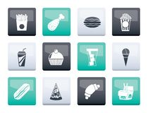 Fast food and drink icons over color background royalty free stock images