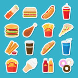 Fast food and drink stickers Stock Image