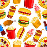 Fast food, drinks and dessert pattern Royalty Free Stock Photo