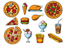 Fast food, drinks and desserts menu snacks. Fast food menu pizzas with different toppings, takeaway box of french fries, hamburger, hot dog, fried chicken, ice Stock Images