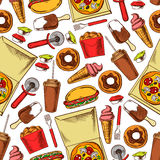 Fast food, drinks, desserts. Seamless background Royalty Free Stock Image
