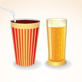 Fast Food Drinks Icon. Cola Cup and Glass of Beer vector illustration