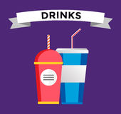 Fast food drinks pack set Stock Photography
