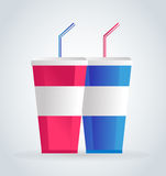 Fast food drinks pack set Royalty Free Stock Images
